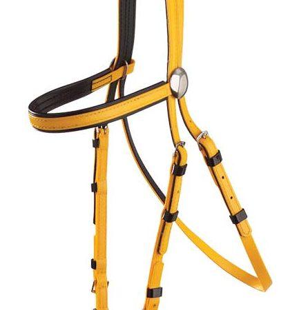 Zilco軽量黒パット・レースブライドル黄色