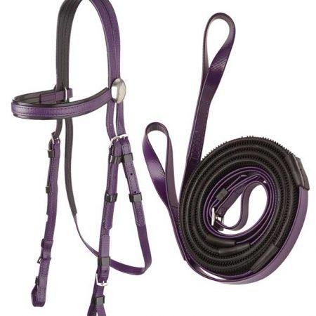 Zilco軽量黒パット・レースブライドル&ループ手綱セット紫