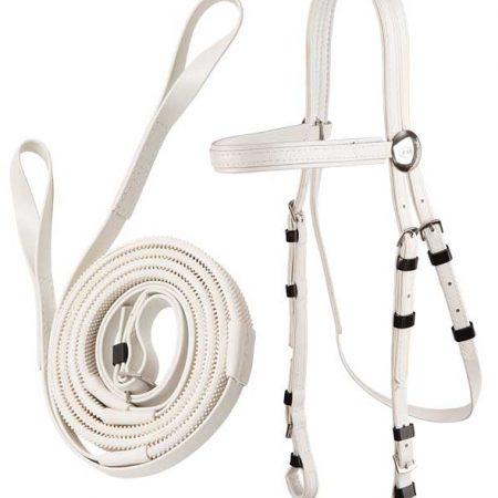 Zilco軽量白パット・レースブライドル&ループ手綱セット白