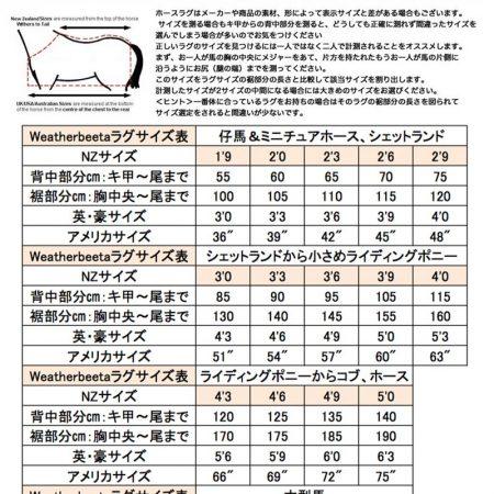 Weatherbeetaラグサイズ表